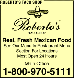 Directory Ad for Robertos Taco Shop