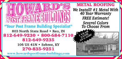 Directory Ad for Howard's Post Frame Buildings