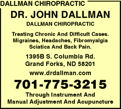Directory Ad for Dallman Chiropractic
