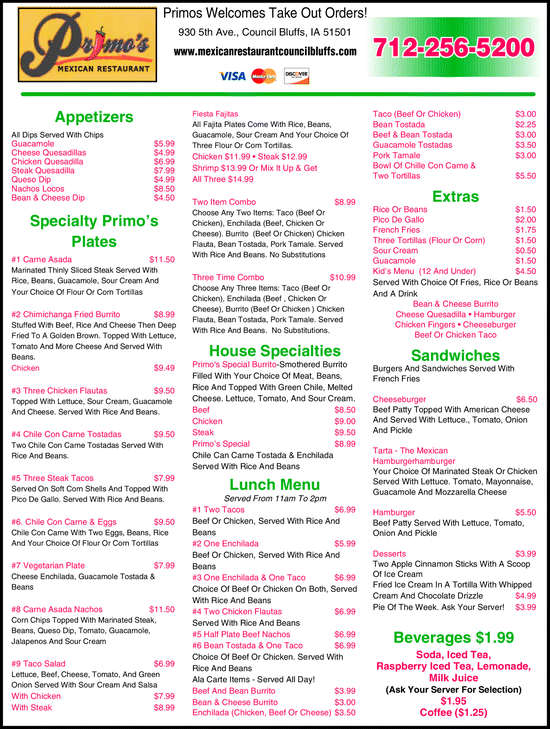 Menu for Primo's Mexican Restaurant