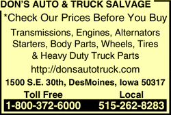 Directory Ad for Dons Auto & Truck Salvage