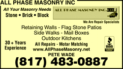 Menu for All Phase Masonry Inc