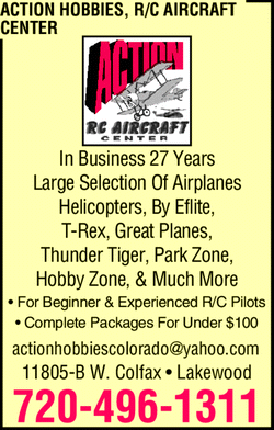Menu for Action R/C Aircraft Center
