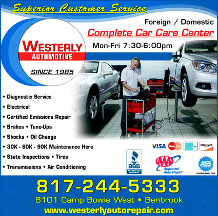 Menu for Westerly Automotive