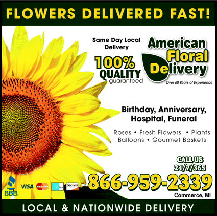 Menu for A American Floral Delivery
