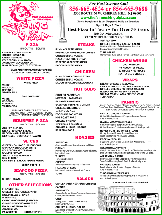 Menu for King of Pizza