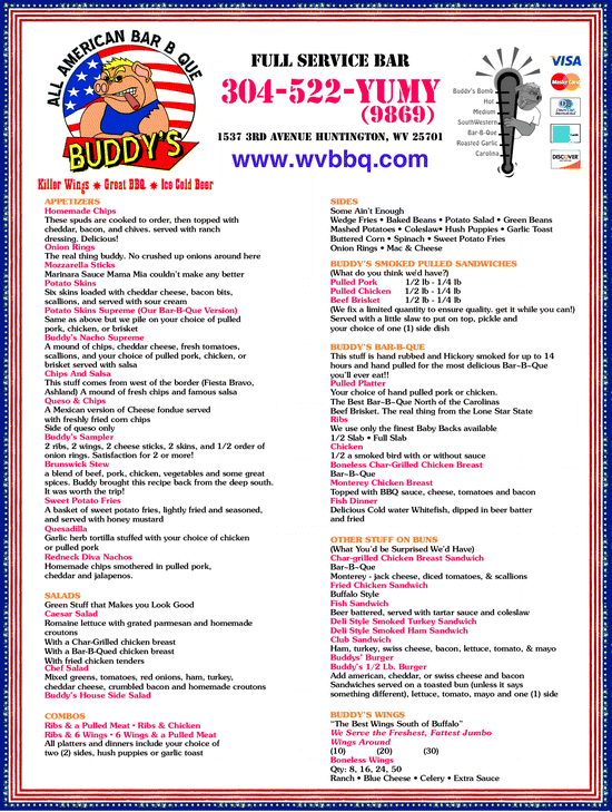 Menu for Buddy's All American Bar-B-Que