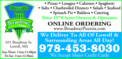 Menu for Broadway Pizza Seafood & Grill