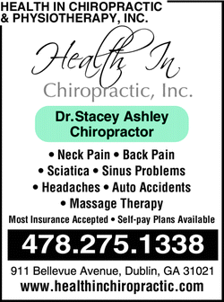 Menu for Health In Chiropractic Inc. * Dr. Stacey L. Ashley
