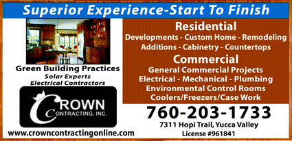 Menu for Crown Contracting Inc