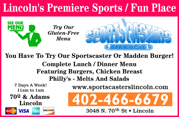 Menu for Sportscasters Bar & Grill