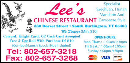 Menu for Lee's Chinese Restaurant