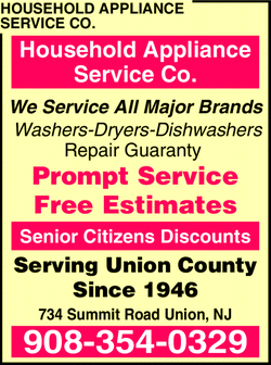 Menu for Household Appliance Service