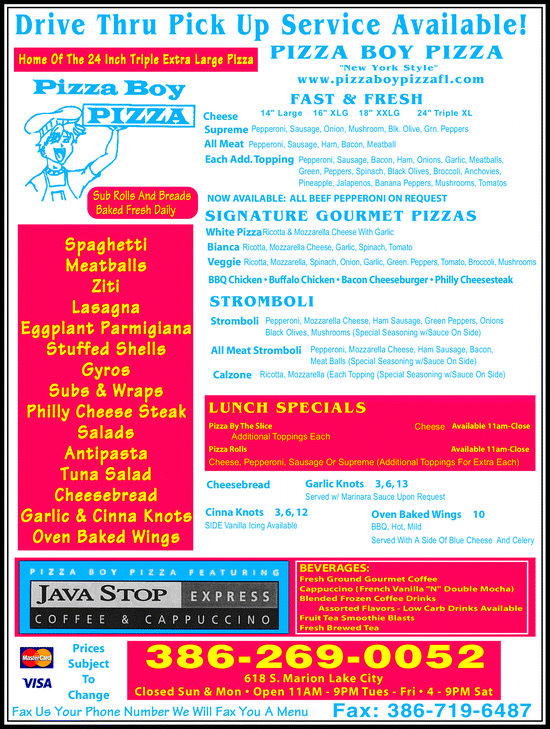 Menu for Pizza Boy Pizza