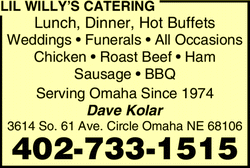 Menu for Lil Willy's Catering