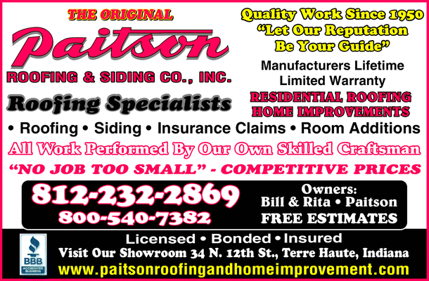 Menu for Paitson Roofing & Siding Co Inc